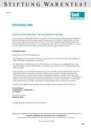 Formular zum Lärmgutachten der Stiftung Warentest