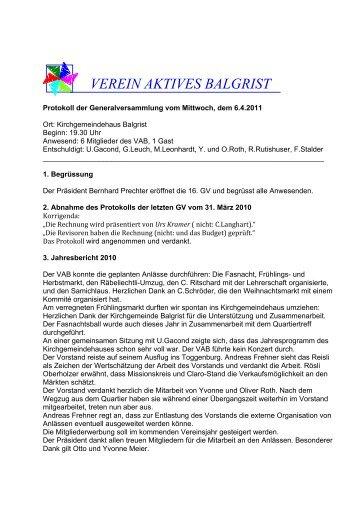 Protokoll GV 2011.pdf - Verein Aktives Balgrist