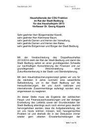 Haushaltsrede der CDU Fraktion im Rat der Stadt Bedburg