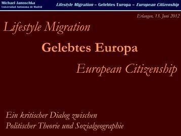 Lifestyle Migration Gelebtes Europa European Citizenship - michael ...