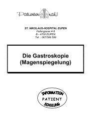 Die Gastroskopie (Magenspiegelung) - St. Nikolaus-Hospital Eupen