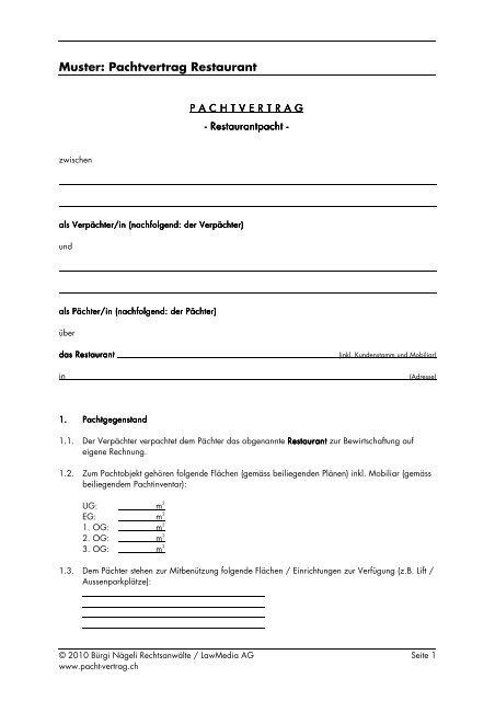 Landpachtvertrag Fur Nutzflachen Muster Zum Download 5
