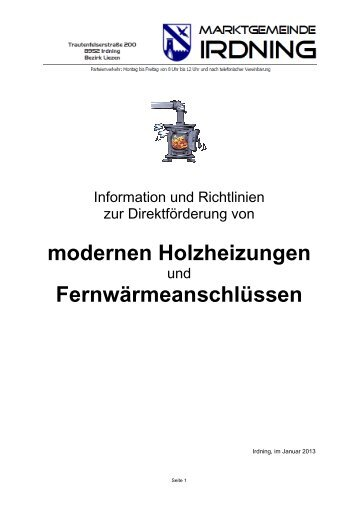 modernen Holzheizungen Fernwärmeanschlüssen - Marktgemeinde ...