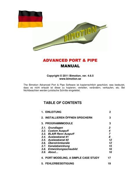 4bd8809b626a4f ADVANCED PORT & PIPE MANUAL - Bimotion 2-stroke Software