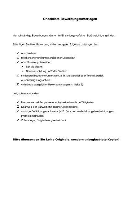 Checkliste Bewerbungsunterlagen Gemeinde Nordwalde