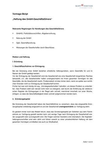 """Vortrags-Skript """"Haftung des GmbH-Geschäftsführers"""""""