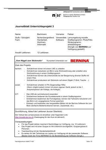 Journalblatt Unterrichtsprojekt 3 - Ressourcen für die Vorbereitung ...