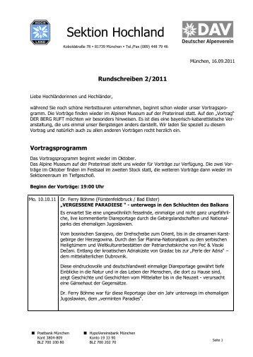 Rundschreiben 2/2011 - Sektion Hochland