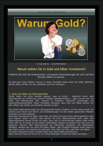 Warum sollten Sie in Gold und Silber investieren? - top-gold.eu