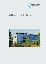 Geschäftsbericht BB-NRW 2003 - Bürgschaftsbank NRW