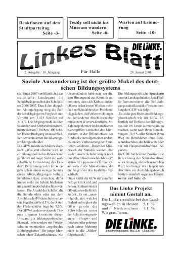 Ausgabe Nr. 02 vom 29. Januar 2008 - DIE LINKE. Halle /Saale