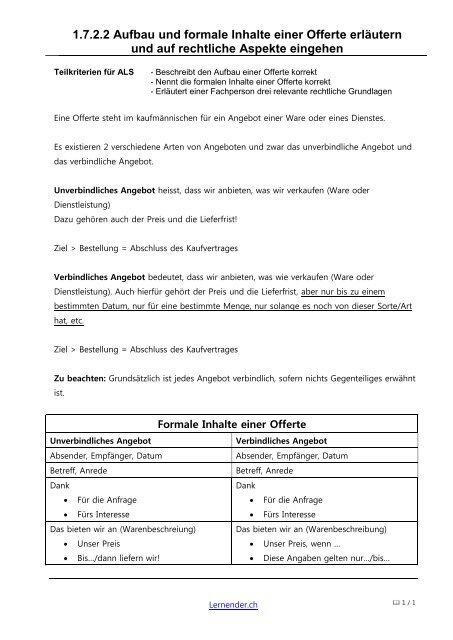 1722 Aufbau Und Formale Inhalte Einer Offerte Lernenderch