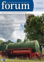 forum 07-08|2013 - Wirtschaftsmagazin Ostbrandenburg