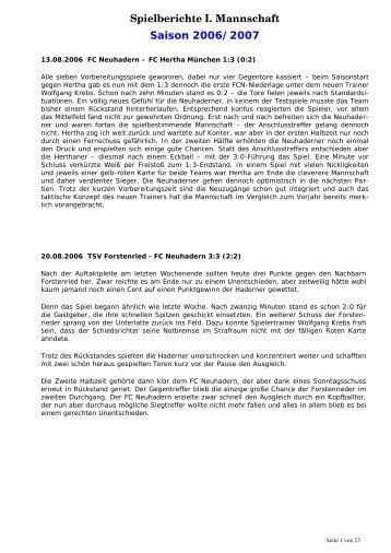 Spielberichte I. Mannschaft Saison 2006/2007 - FC Neuhadern ...