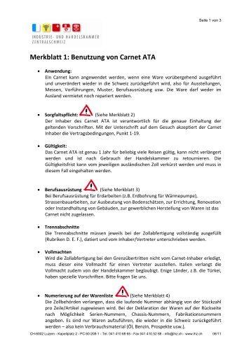 Merkblatt 1: Benutzung von Carnet ATA - und Handelskammer ...