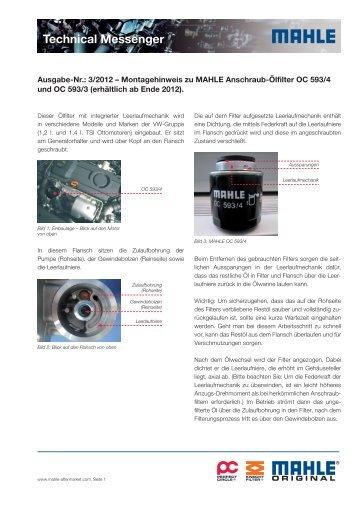 Ausgabe 03/2012 - Montagehinweis zu MAHLE Anschraub-Ölfilter ...