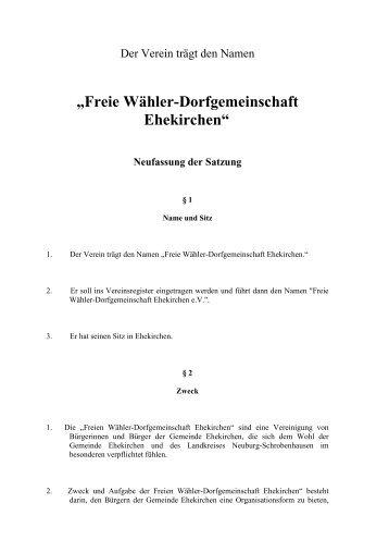 Satzung FW - Freie Wähler Ehekirchen