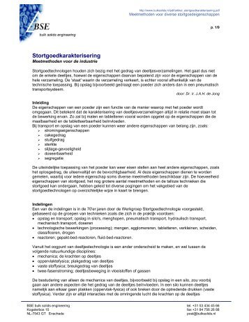 Stortgoedkarakterisering - BSE bulk solids engineering