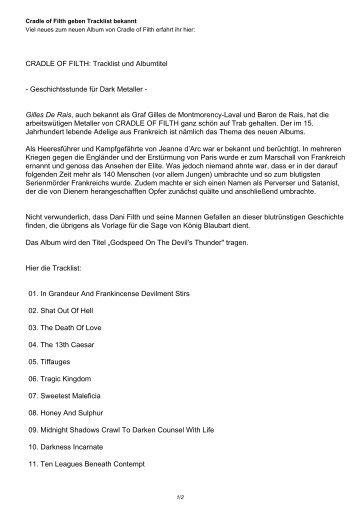 CRADLE OF FILTH: Tracklist und Albumtitel - Geschichtsstunde für ...
