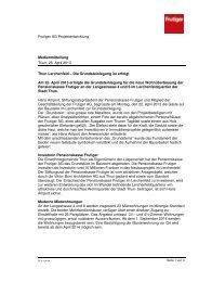 Medienmitteilung vom 26. April 2013 - Frutiger AG
