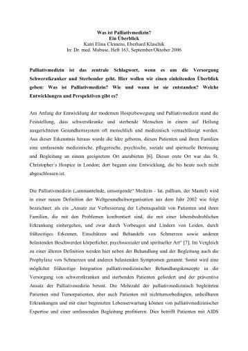 Was ist Palliativmedizin? Ein Überblick Katri Elina ... - Mabuse Verlag