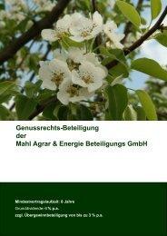 Genussrechts-Beteiligung an der Mahl Agrar & Energie Beteiligungs