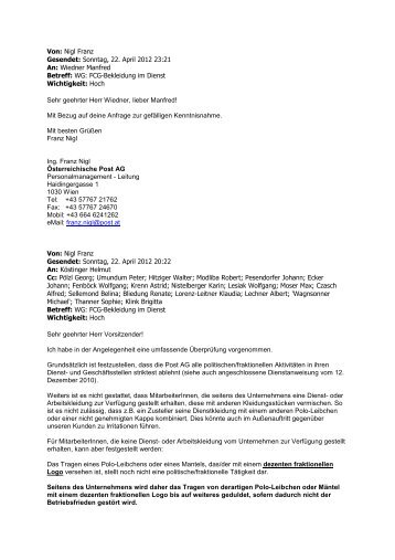Nigl Franz Gesendet: Sonntag, 22. April 2012 23:21 An - FCG Post