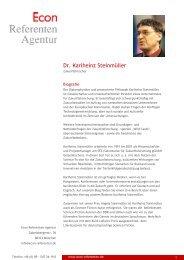 Dr. Karlheinz Steinmüller - Econ Referenten-Agentur