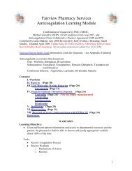 Fairview Pharmacy Services Anticoagulation Learning Module