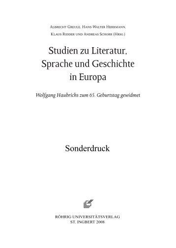 Studien zu Literatur, Sprache und Geschichte in Europa - Germanistik