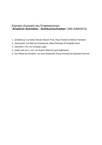 Exposés - Fachbereich Philosophie und Geisteswissenschaften ...