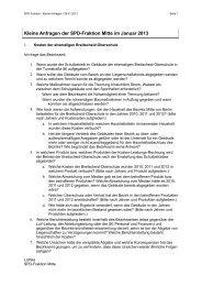 Kleine Anfragen der SPD-Fraktion Berlin-Mitte vom 21. Januar 2013