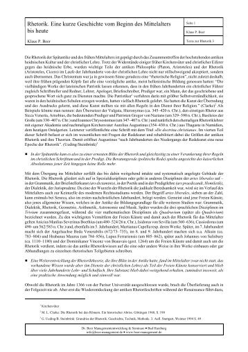 Rhetorik - Eine kurze Geschichte der Rhetorik vom Beginn des ...