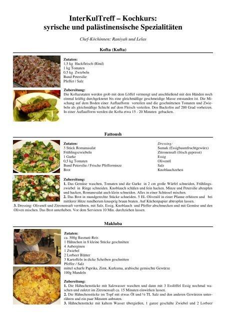 Rezepte: syrische und palästinensische Küche