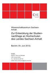 Zur Entwicklung der Studien - WZW Wissenschaftszentrum Sachsen ...