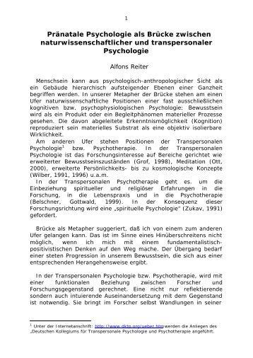 Pränatale Psychologie als Brücke zwischen naturwissenschaftlicher ...