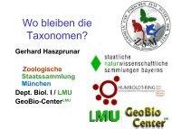 Wo bleiben die Taxonomen - Vortrag von Gerhard Haszprunar - VBio