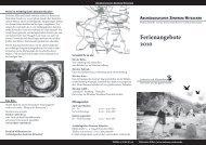 Broschüre mit den Ferienangeboten des Archäologischen Zentrums ...