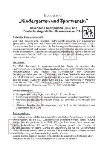 Kooperation Sportverein Und Kindergarten Vorlage Stundenbild