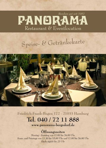 Unsere aktuelle Speisekarte - Panorama Restaurant & Eventlocation