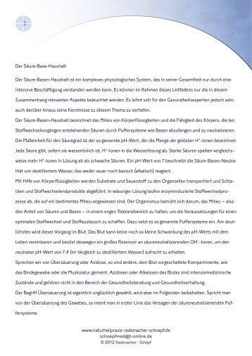 Der Säure-Base-Haushalt Der Säure-Basen-Haushalt ist ein ...