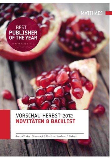 Vorschau herbst 2012 NovitäteN & Backlist - Matthaes Verlag GmbH