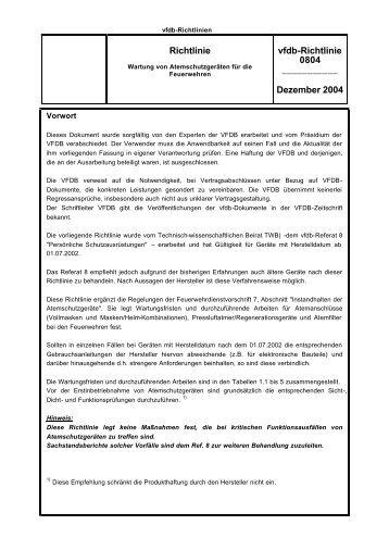 Richtlinie vfdb-Richtlinie 0804