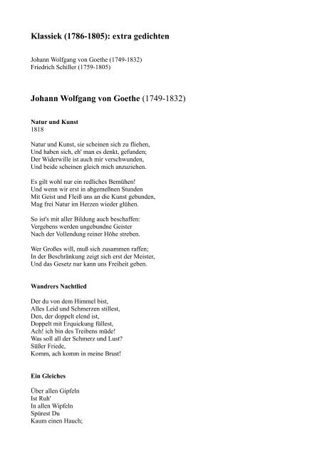Klassiek 1786 1805 Extra Gedichten Johann Wolfgang Von Goethe