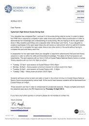 Scuba diving club extra sessions letter March 2013 - Sydenham ...