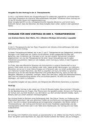 Vorgabe für den Vortrag in der 4. Therapiewoche - Andreas Starke