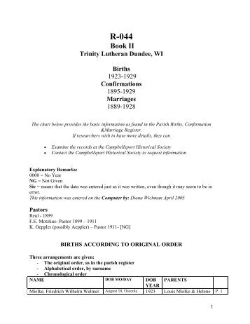MARRIAGES – TRINITY - DUNDEE - Campbellsport