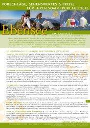 vorschläge, sehenswertes & preise für ihren sommerurlaub 2013