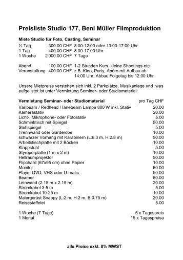 Preisliste zum Herunterladen - Beni Müller