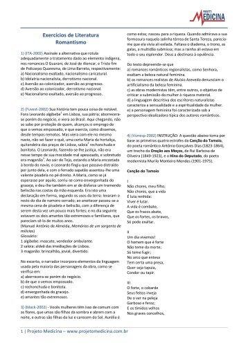 Exercícios de Literatura Romantismo - Projeto Medicina